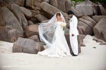 Natural pic of bride in the Seychelles